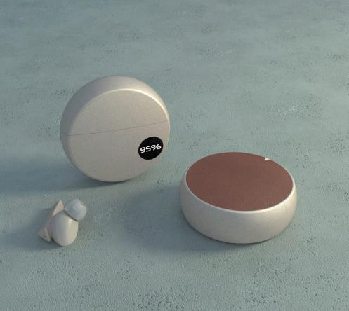 Round Shape Bluetooth Headset With Battery Display